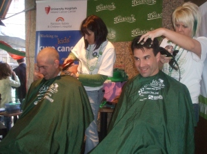 Mark shaving his head for St. Baldrick's 2009
